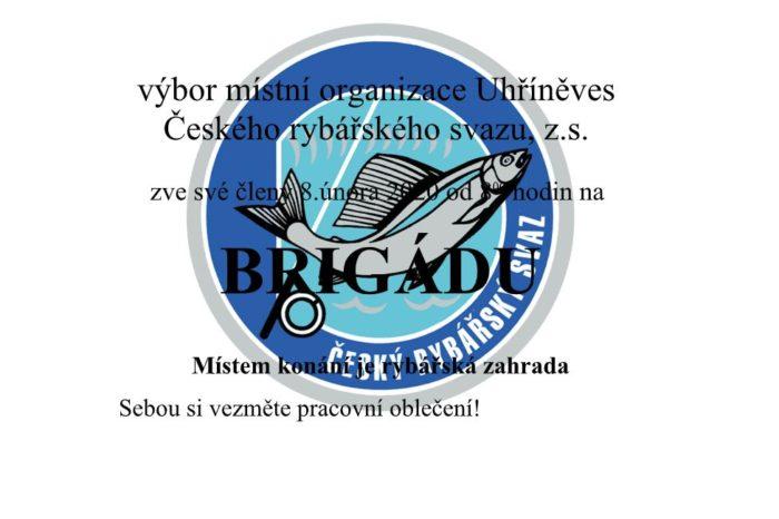 Rybáři Uhříněves - pozvánka na brigádu  8.2.2020